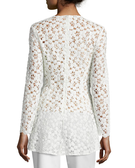 Long-Sleeve Embroidered-Lace Peplum Blouse, White