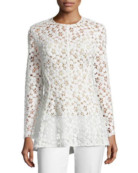 Lela Rose Long-Sleeve Embroidered-Lace Peplum Blouse & Sam