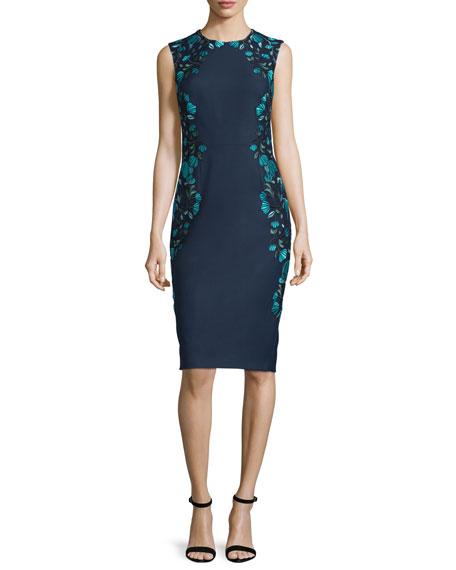 Lela Rose Sleeveless Embroidered Sheath Dress, Green/Multi