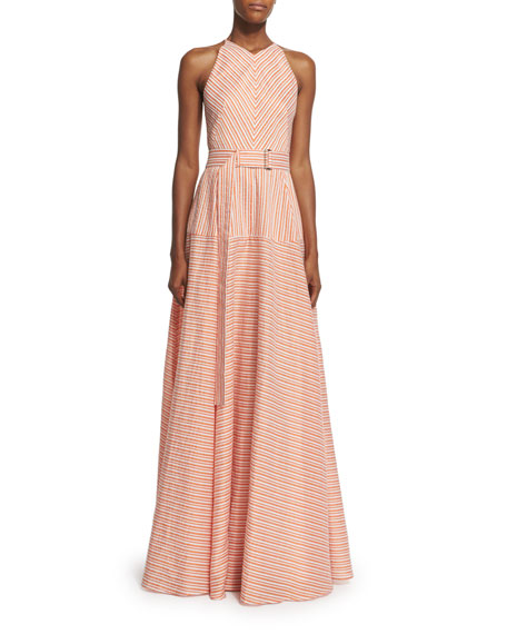 Lela Rose Sleeveless Belted A-Line Gown, Orange