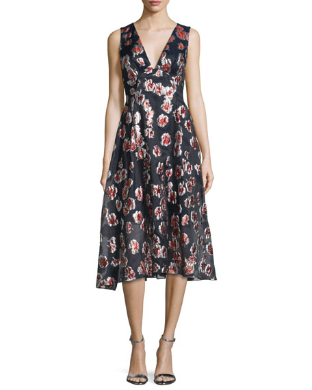 Lela Rose Sleeveless Floral-Print Midi Dress, Cranberry