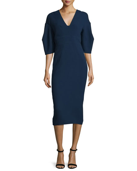 Lela Rose Half-Sleeve V-Neck Midi Dress, Navy