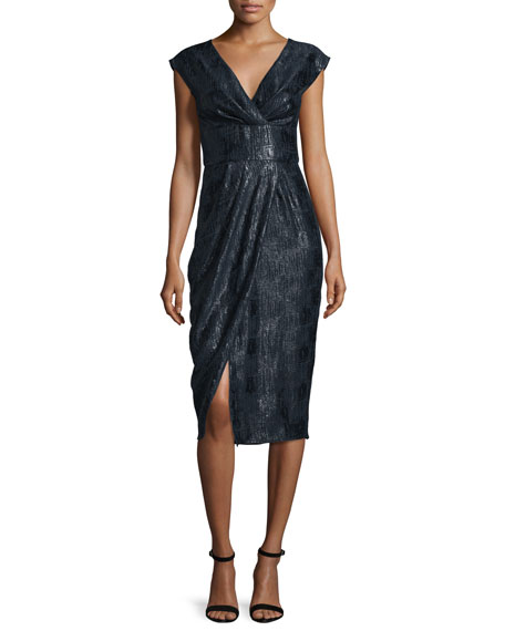 Lela Rose Cap-Sleeve Modified Wrap Dress