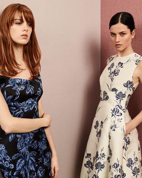 Juliet A-Line Dress, Ivory/Blue