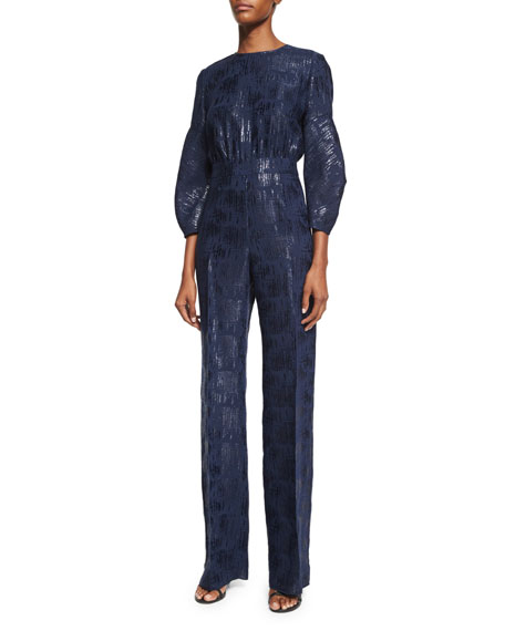 Lela Rose Straight-Leg Shimmery Jumpsuit, Navy