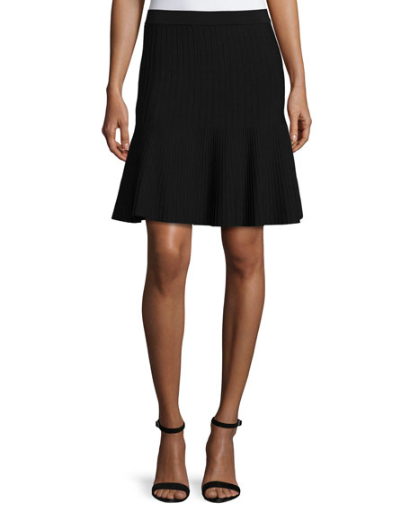 Lela Rose Mid-Rise Ribbed Skirt, Black