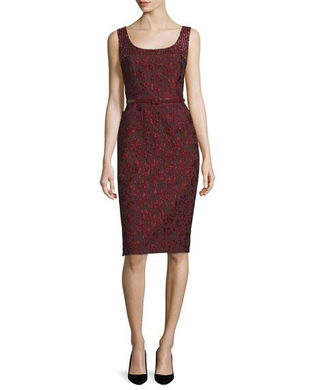 Escada Sleeveless Embellished Sheath Dress W/Belt, Marsala