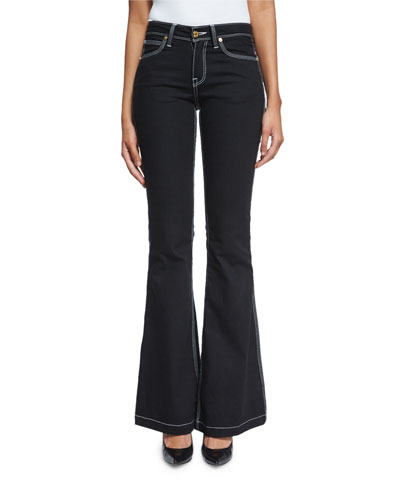 Topstitched Flare-Leg Jeans, Black