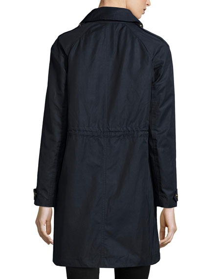 Harlington Zip-Front Hooded Parka Coat, Navy