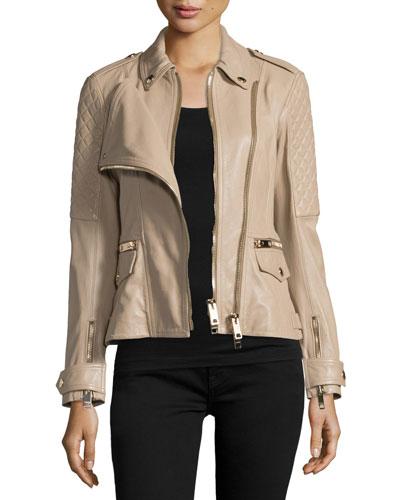 Remmington Leather Biker Jacket, Honey