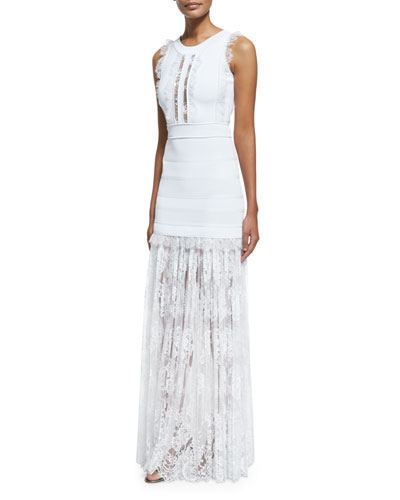 Lace-Inset Sleeveless Knit Gown, White