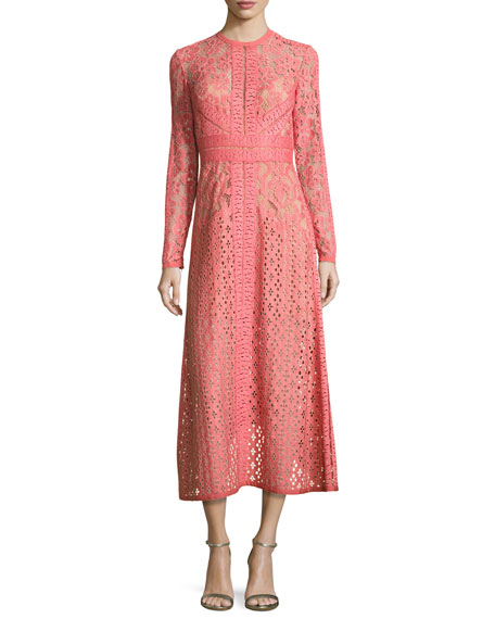 Lace Long-Sleeve Midi Dress, Tea Rose