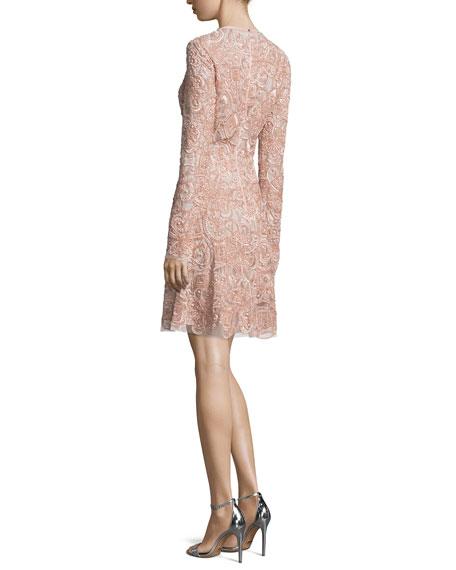 Long-Sleeve Embellished Cocktail Dress, Opal