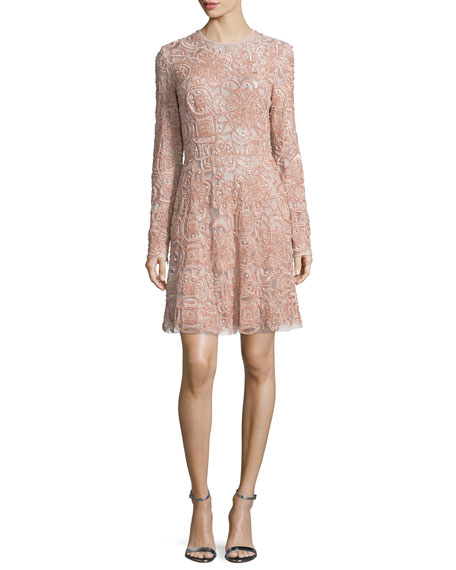 Long-Sleeve Embellished Cocktail Dress, Opal