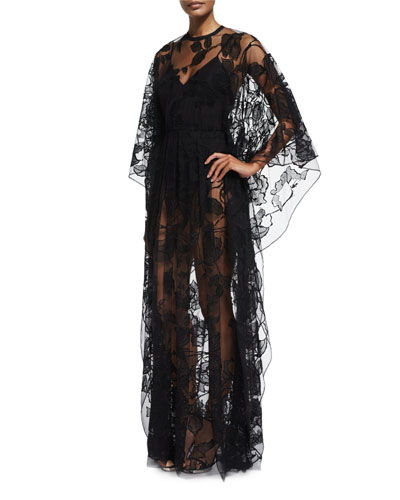 Sheer Floral-Lace Long-Sleeve Gown, Black