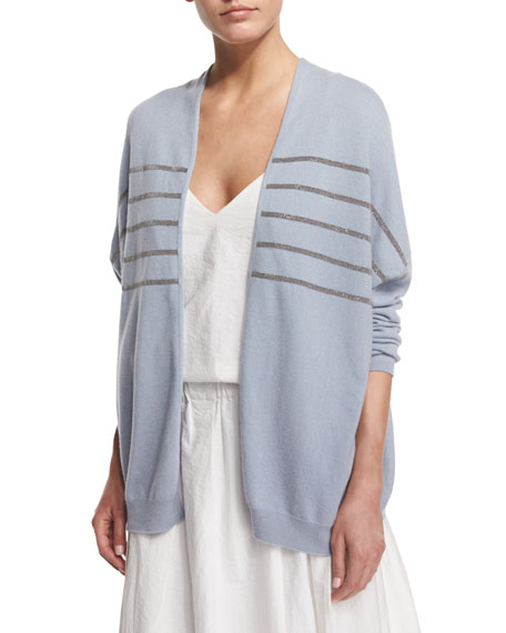 Brunello CucinelliMonili-Striped Open-Front Cashmere Cardigan,