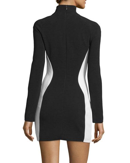 Pierced Colorblock Long-Sleeve Dress, Black/White