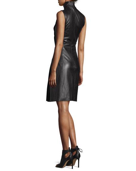 Sleeveless Mock-Neck Leather Combo Dress, Black