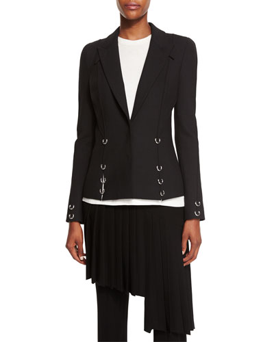 Pierced Notched-Collar Jacket, Black Online Cheap