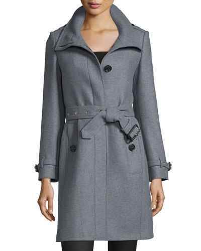 Gibbsmore Wool-Blend Single-Breasted Coat, Steel Gray Melange