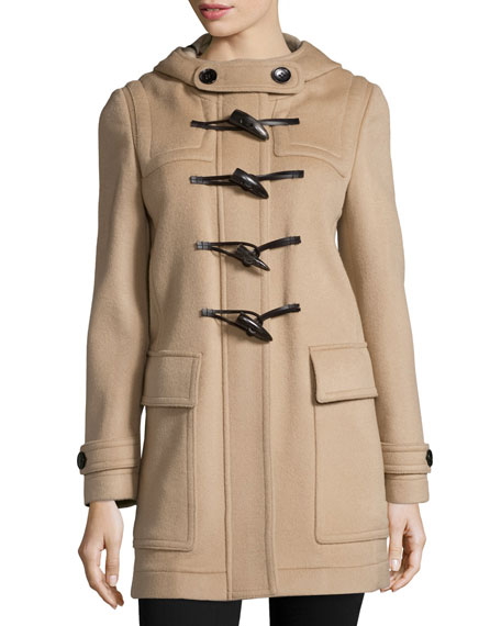 Burberry Baysbrooke Hooded Wool Duffle Coat, New Camel