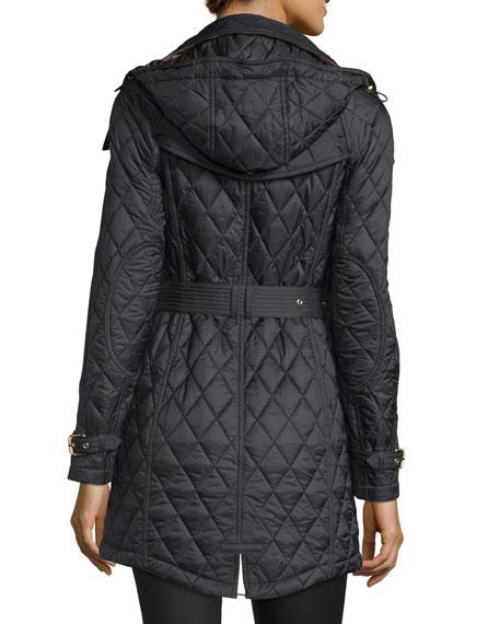 Burberry Bellbridge Long Quilted Jacket Black Neiman Marcus