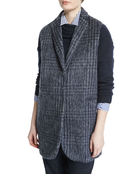Notch-Collar Glen-Check Vest, Navy