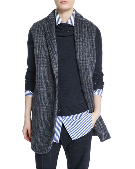 Notch-Collar Glen-Check Vest, Navy