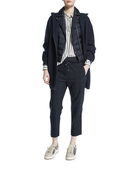 Drawstring-Waist Windowpane Cropped Pants, Navy