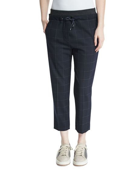 Brunello Cucinelli Drawstring-Waist Windowpane Cropped Pants, Navy