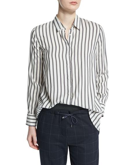 Brunello CucinelliButton-Front Striped Shirt, Onyx