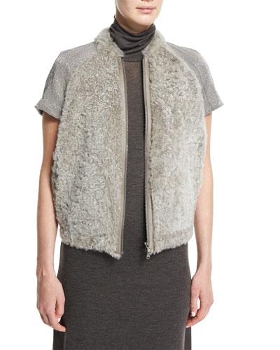 Monili-Embellished Cap-Sleeve Fur Jacket, Graphite