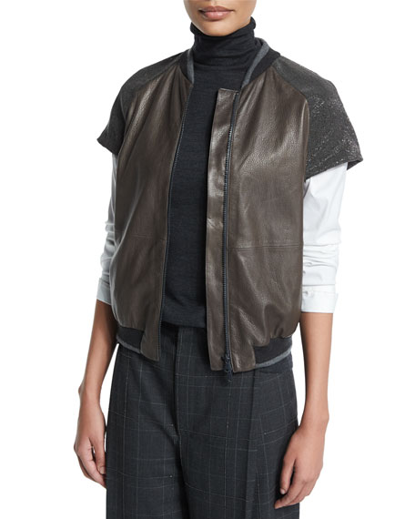 Brunello CucinelliMonili-Embellished Cap-Sleeve Jacket, Graphite