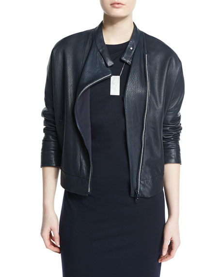 Brunello Cucinelli Asymmetric Leather Moto Jacket w/Monili Trim