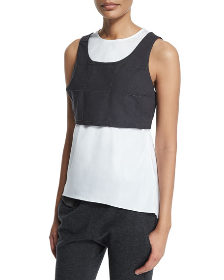 Brunello Cucinelli Jewel-Neck Monili-Trim Windowpane Vest Tank,