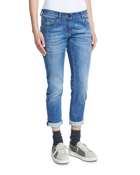 Brunello CucinelliDistressed Rolled-Cuff Boyfriend Jeans, Denim