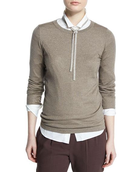 Brunello Cucinelli Long-Sleeve Jewel-Neck Metallic Sweater, Bark