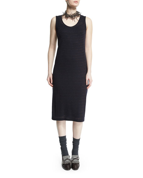 Brunello Cucinelli Scoop-Neck Metallic-Striped Dress, Navy