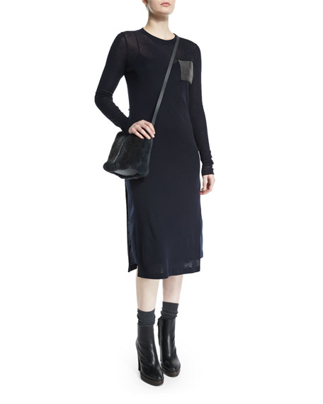 Brunello Cucinelli Long-Sleeve Monili-Pocket Midi Dress, Navy