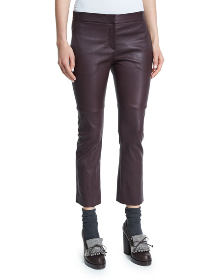 Brunello Cucinelli Leather Cropped Flare Pants, Burgundy