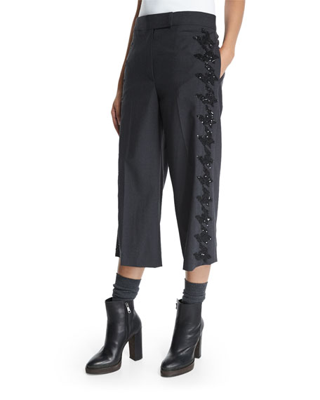 Brunello Cucinelli Embellished-Houndstooth Cropped Pants, Anthracite