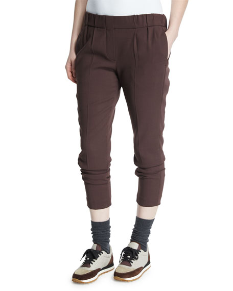 Slim-Leg Jogger Pants, Burgundy