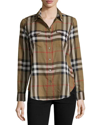 Burberry women 39 s tops shirts tees at neiman marcus for Ladies brown check shirt