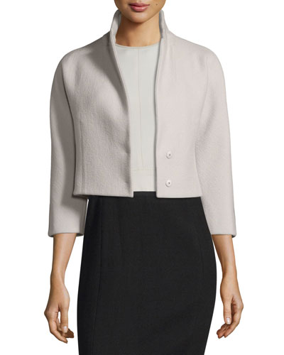 3/4-Sleeve Cropped Jacket, Silver