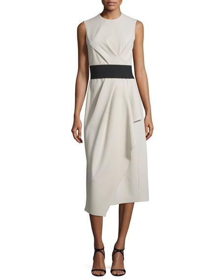 Narciso Rodriguez Sleeveless Round-Neck Draped Wool Dress