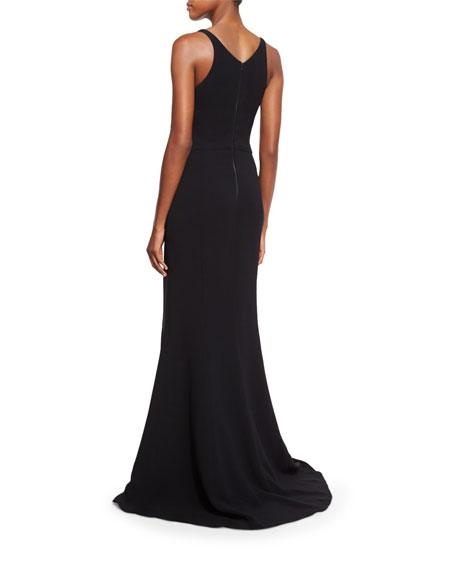 Sleeveless V-Neck Fluted Gown, Black