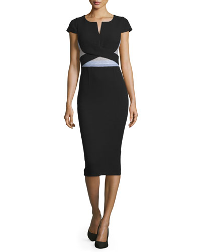 Contrast-Waist Cap-Sleeve Midi Dress, Black