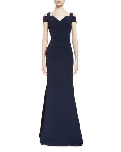 Nansen Cold-Shoulder V-Neck Mermaid Gown, Midnight Navy