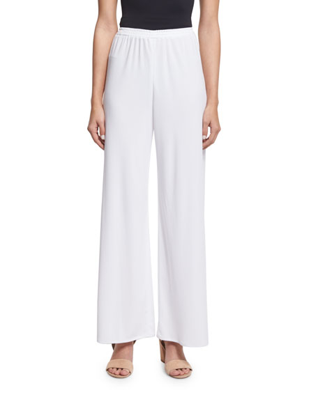 Shamask High-Waist Wide-Leg Pants, White
