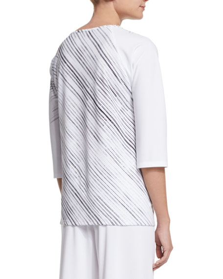3/4-Sleeve Screen-Print Tunic, White/Black